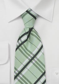 Plaid Kids Tie in Pistachio Green