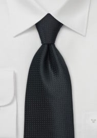 Textured Black Silk Tie in XL Length