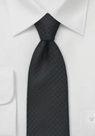Black Textured Gingham Tie for Kids
