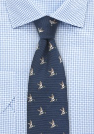 Flying Ducks Necktie in Dark Navy