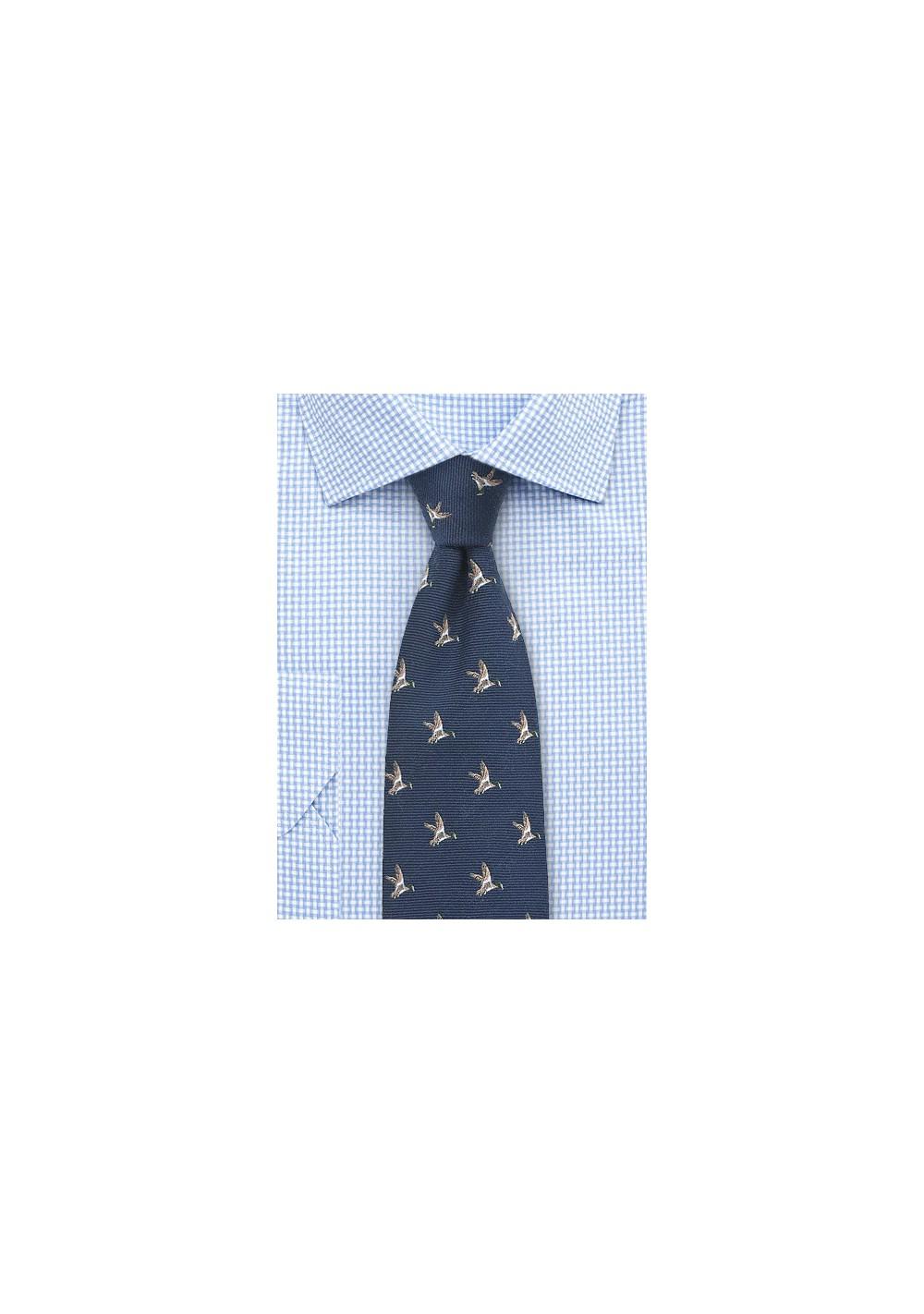 Flying Ducks Necktie in Dark Navy