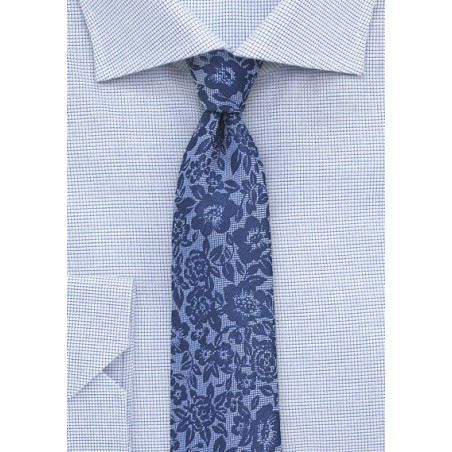Floral Lace Tie in Classic Blues