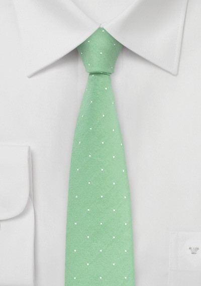 Cotton Skinny Tie in Summer Green