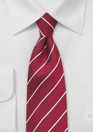 Striped Tie in Chili Pepper Red
