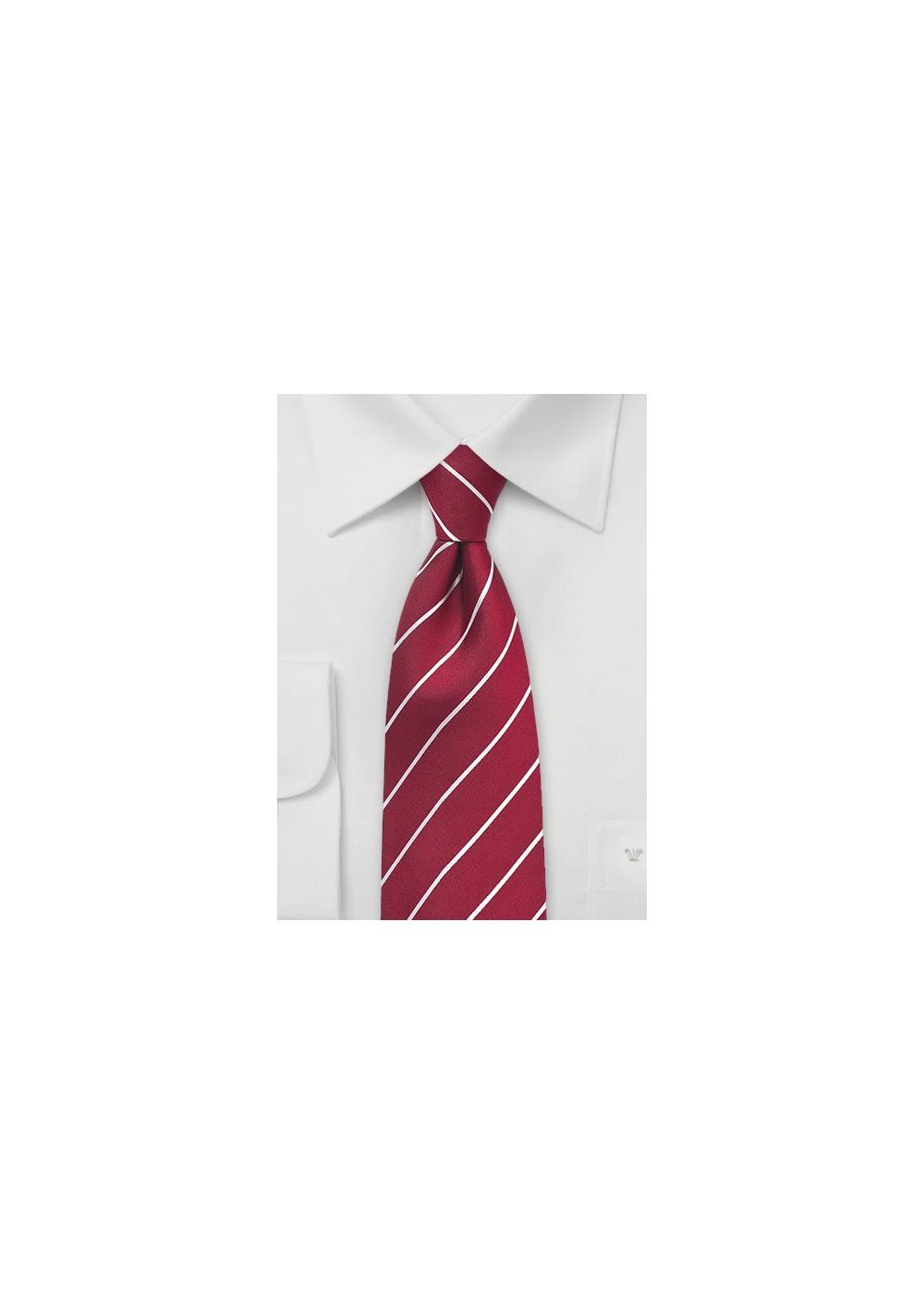 Striped Tie in Chili Pepper Red