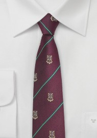 Chestnut Colored Repp Tie with Crest