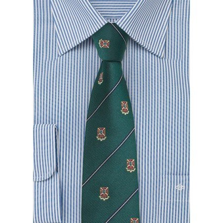 Hunter Green Striped Repp Tie with Crests