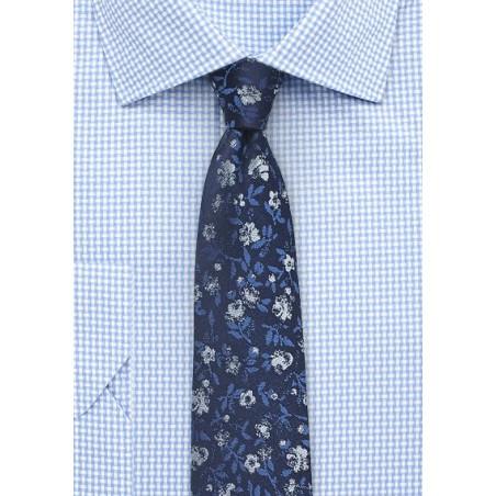 Navy Blue Skinny Floral Tie
