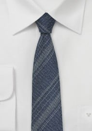 Denim Silk Necktie with Stripes
