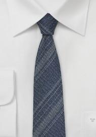 Denim Silk Necktie with Stripes