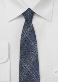 Skinny Denim Silk Tie with Windowpane Checks