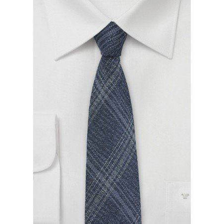 Skinny Denim Silk Tie with Windowpane Checks