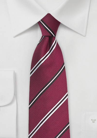 Classic Silk Tie in Deep Red with Black and Silver Stripes