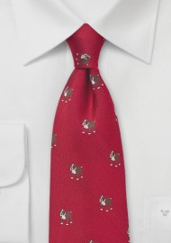 Silk Tie in Red with Woven Bulldogs