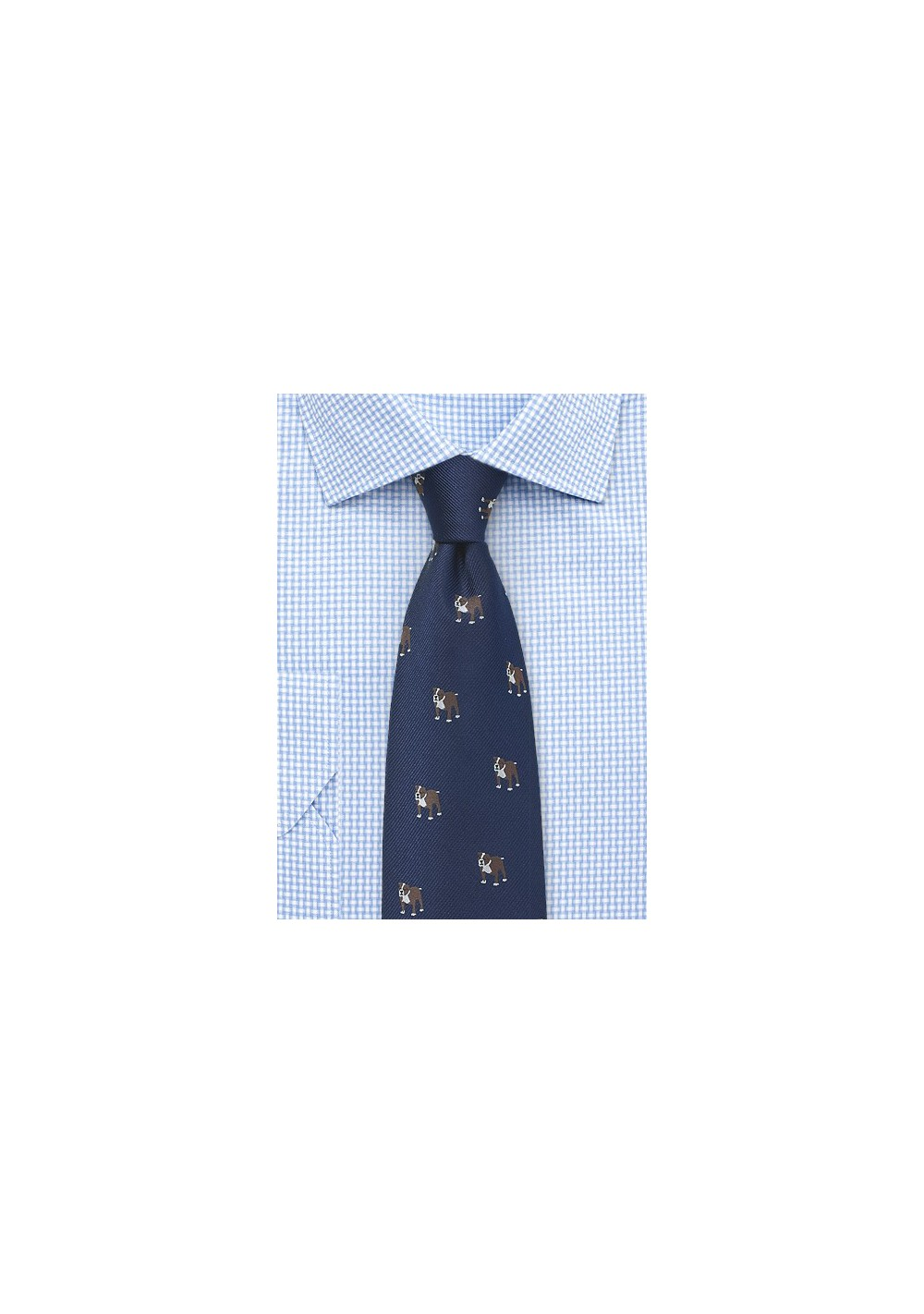 Navy Blue Silk Tie with Bulldog Print