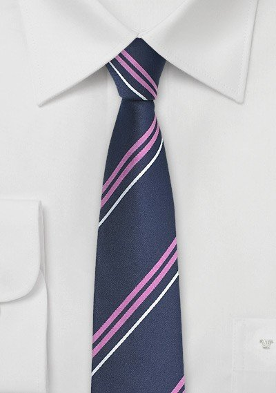 Trendy Blue Skinny Tie with Lavender and Silver STripes