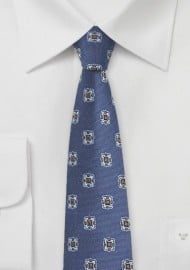 Retro Skinny Tie in Vintage Blues