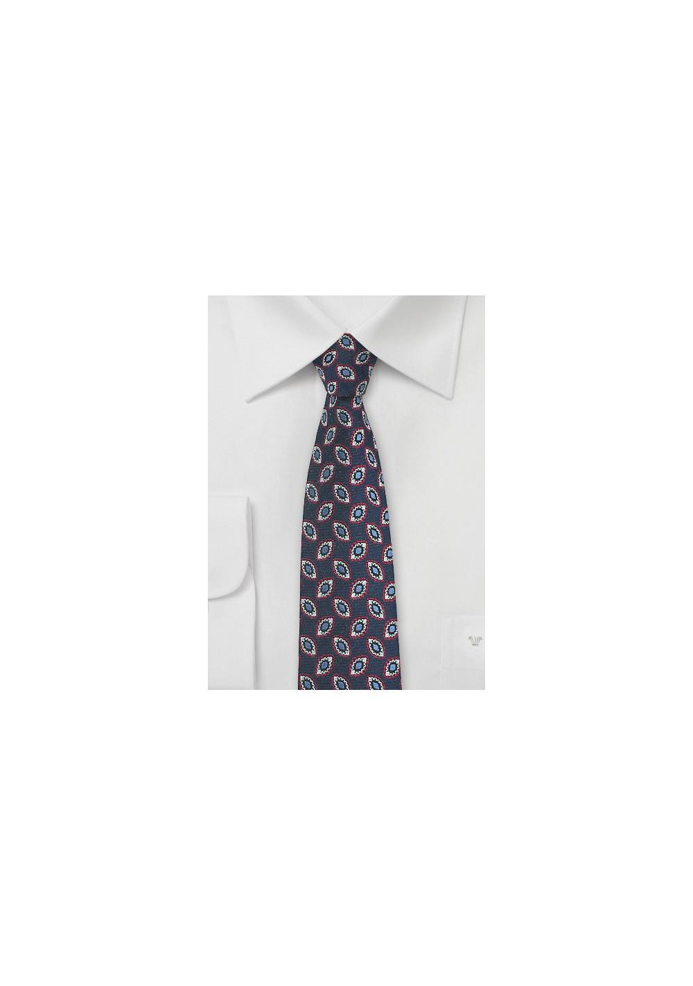 Dark Navy Foulard Skinny Tie