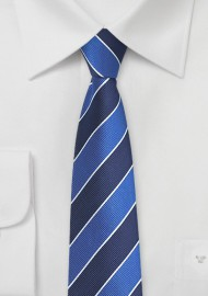 Skinny Repp Stripe Tie in Blue