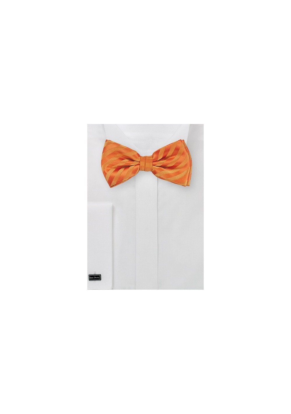 Bright Orange Kids Bow Tie with Stripes