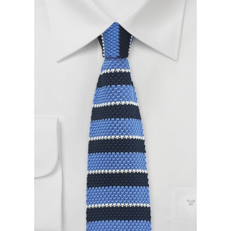 Silk Knit Tie in Blue with Stripes