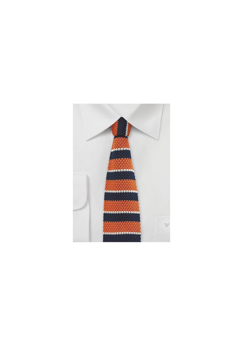 Orange and Navy Knit Tie