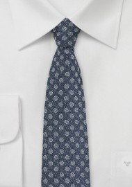 Silk Polka Dot Tie in Denim Look