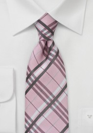 Pink Tartan Plaid Tie in XL Length