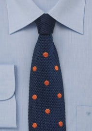 Navy Knit Tie with Tangerine Polka Dots