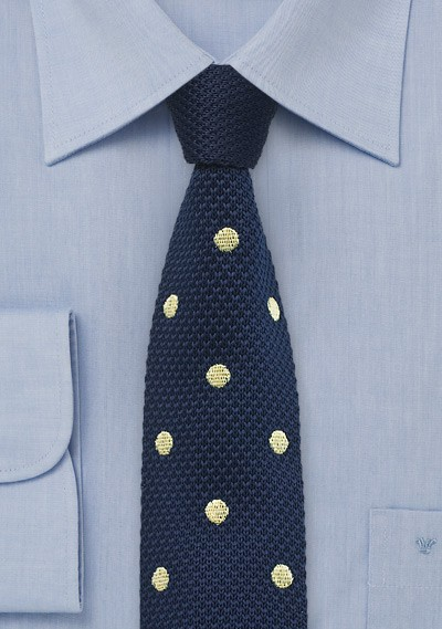 Navy Knit Tie with Yellow Dots