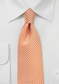 Houndstooth Checkered Kids Tie in Tangerine