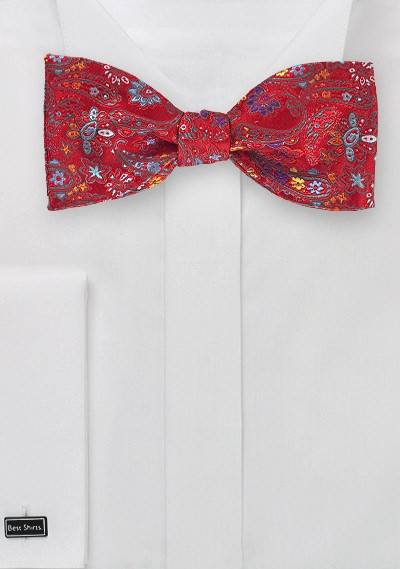 Bright Red Floral Paisley Bow Tie