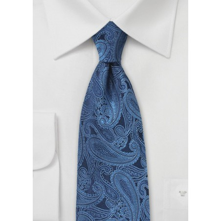 Silk Paisley Tie in Sapphire Blue