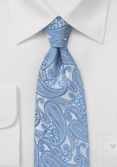 Powder Blue Paisley Silk Tie