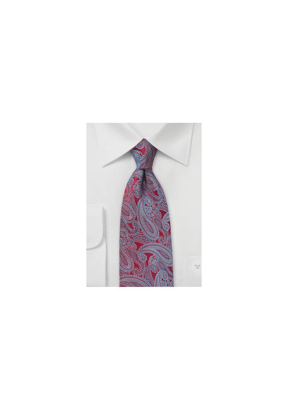 Red Necktie with Silver and Turquoise Paisleys