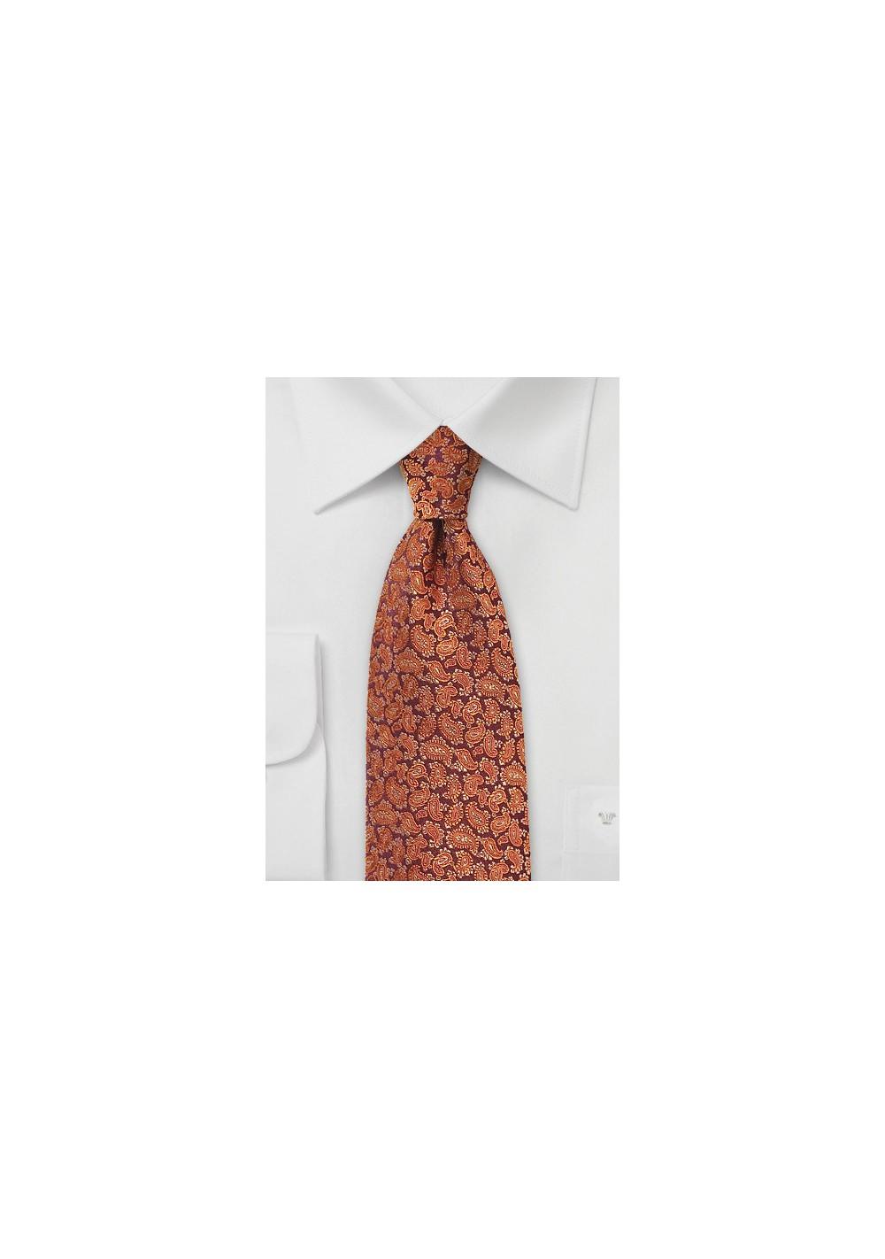 Woven Paisley Tie in Autumn Orange