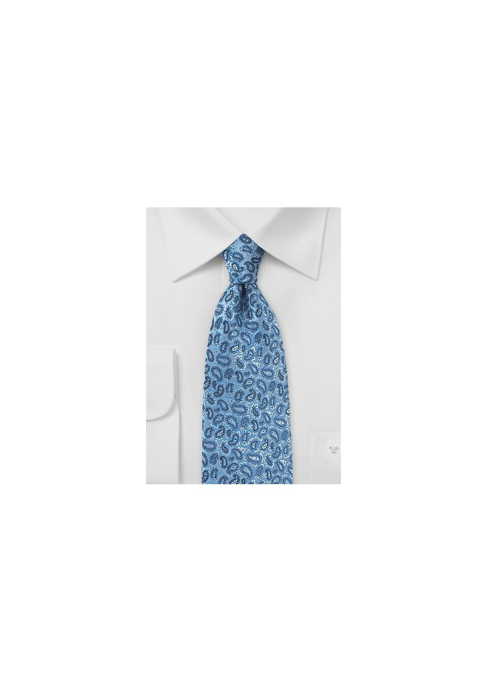 Micro Paisley Silk Tie in Country Blue