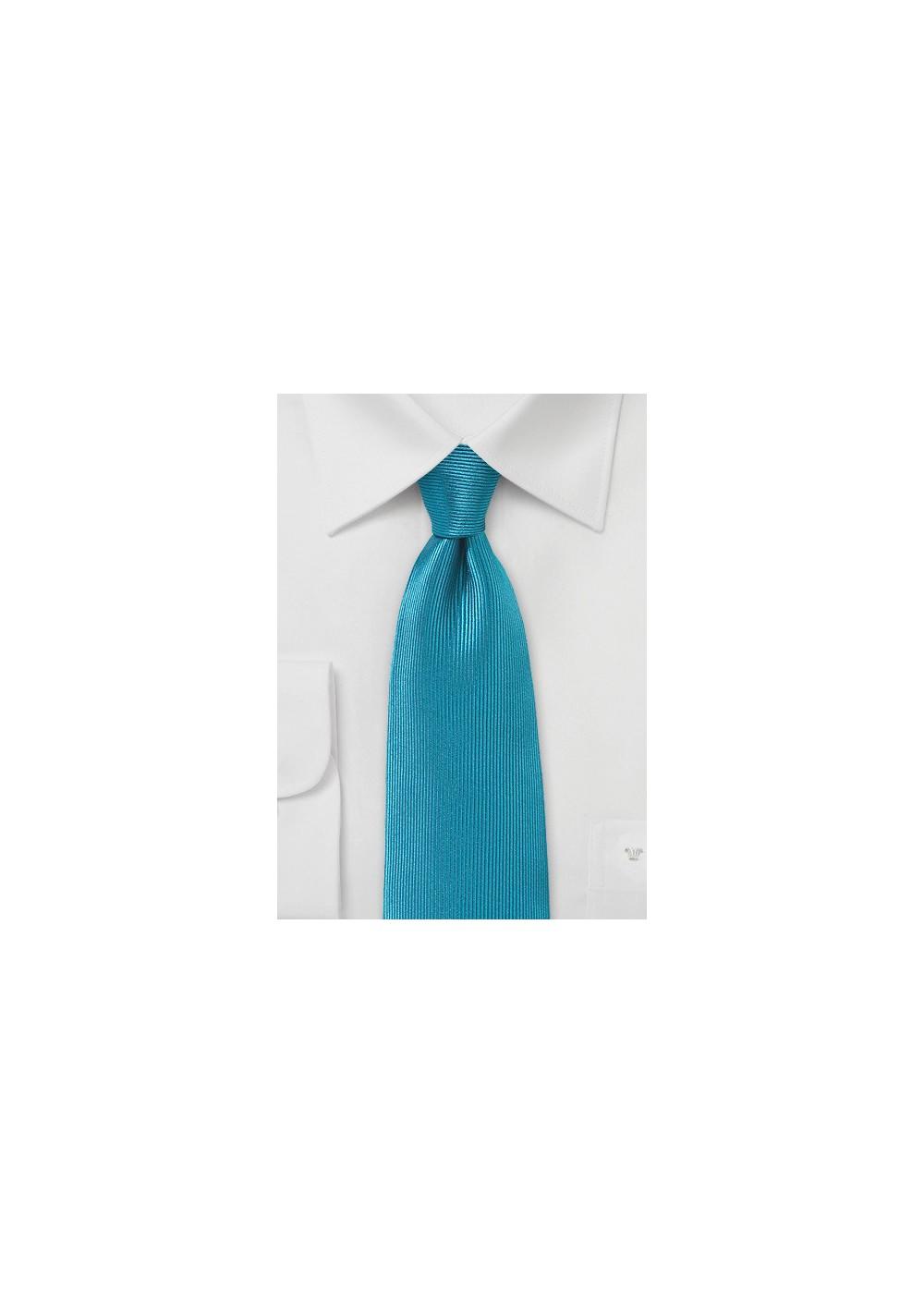 Ribbed Texture Silk Tie in Capri Breeze Blue