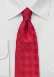 Monochromatic Gingham Tie in Bright Red