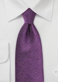 Wineberry Purple Tie with Herringbone Pattern