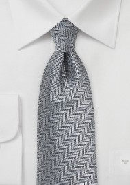 Herringbone Tie in Ash Gray