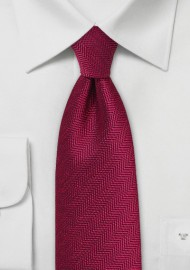 Herringbone Tie in Garnet Red