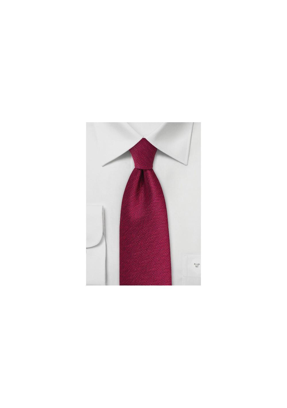 Herringbone Tie in Garnet Red