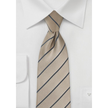 Latte Necktie with Taupe Stripes in XL