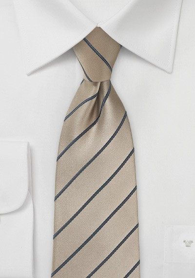Striped Latte Tie with Graphite Stripes for Kids