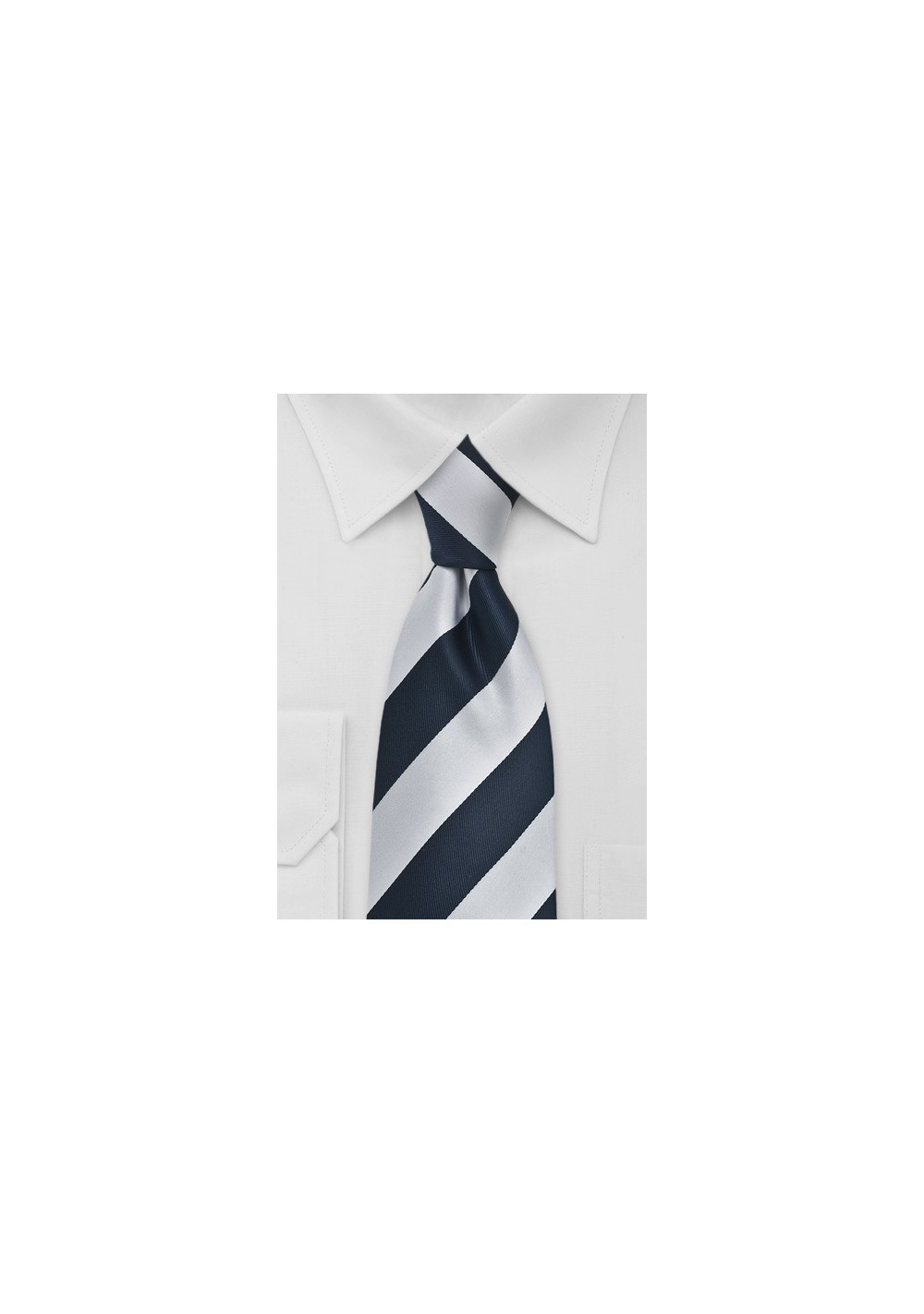 Navy and Silver XL Length Striped Tie