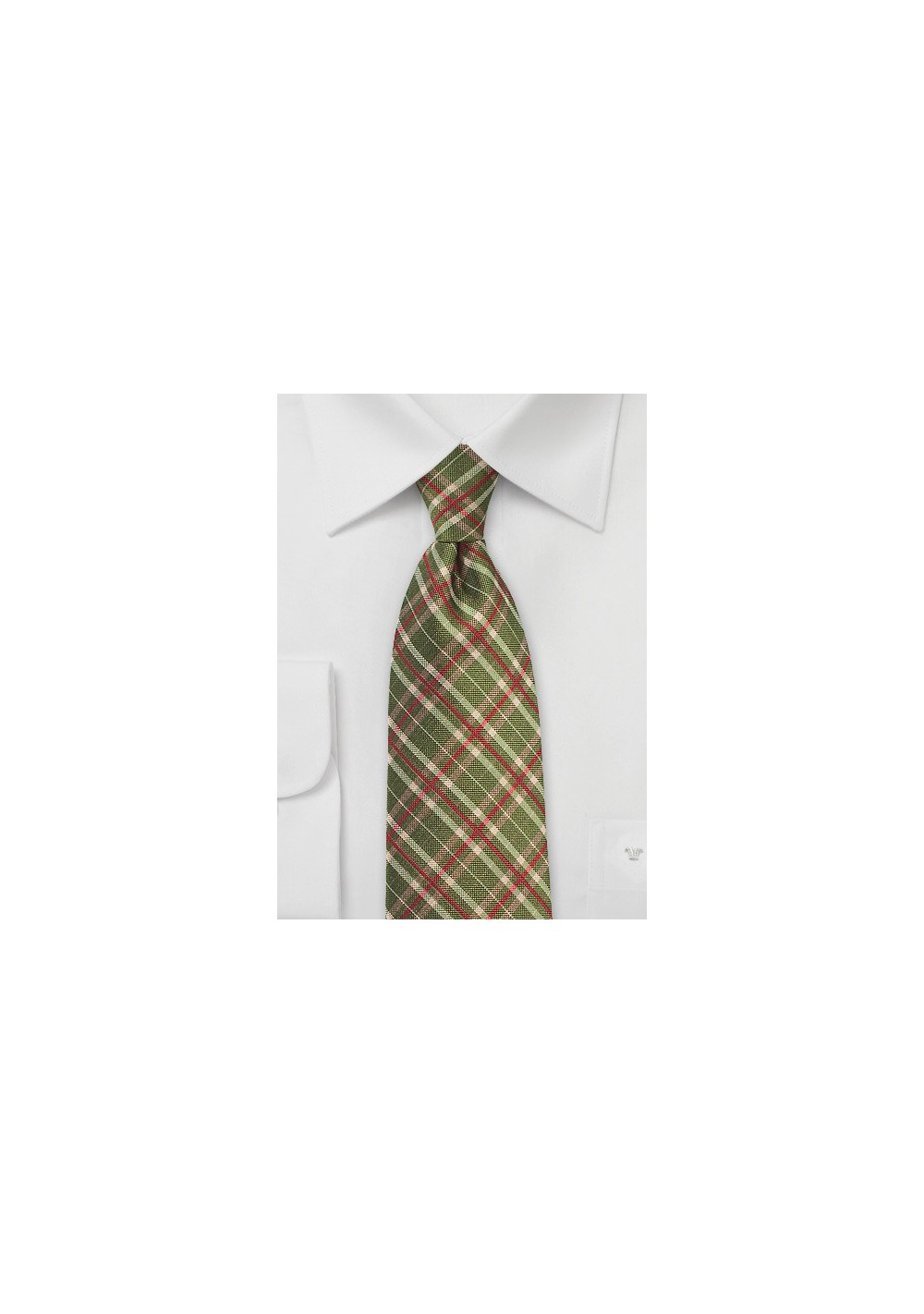 Tartan Silk Tie in Olive and Red