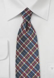 Tartan Plaid Tie in Blue, Red, Gold