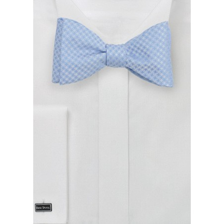 Soft Blue Bow Tie in Self Tie Style