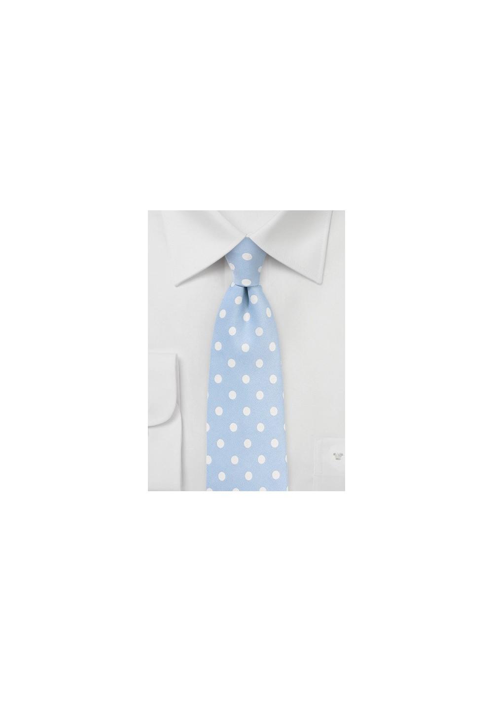 Powder Blue and White Polka Dot Tie